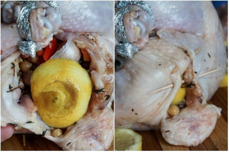 Фаршированная курица нутом