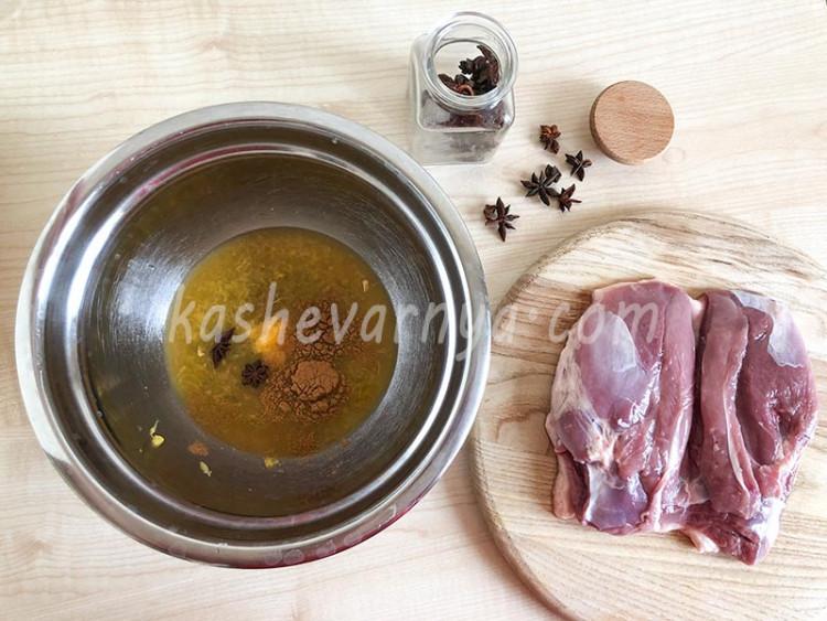 Оливье из запеченных овощей и утки